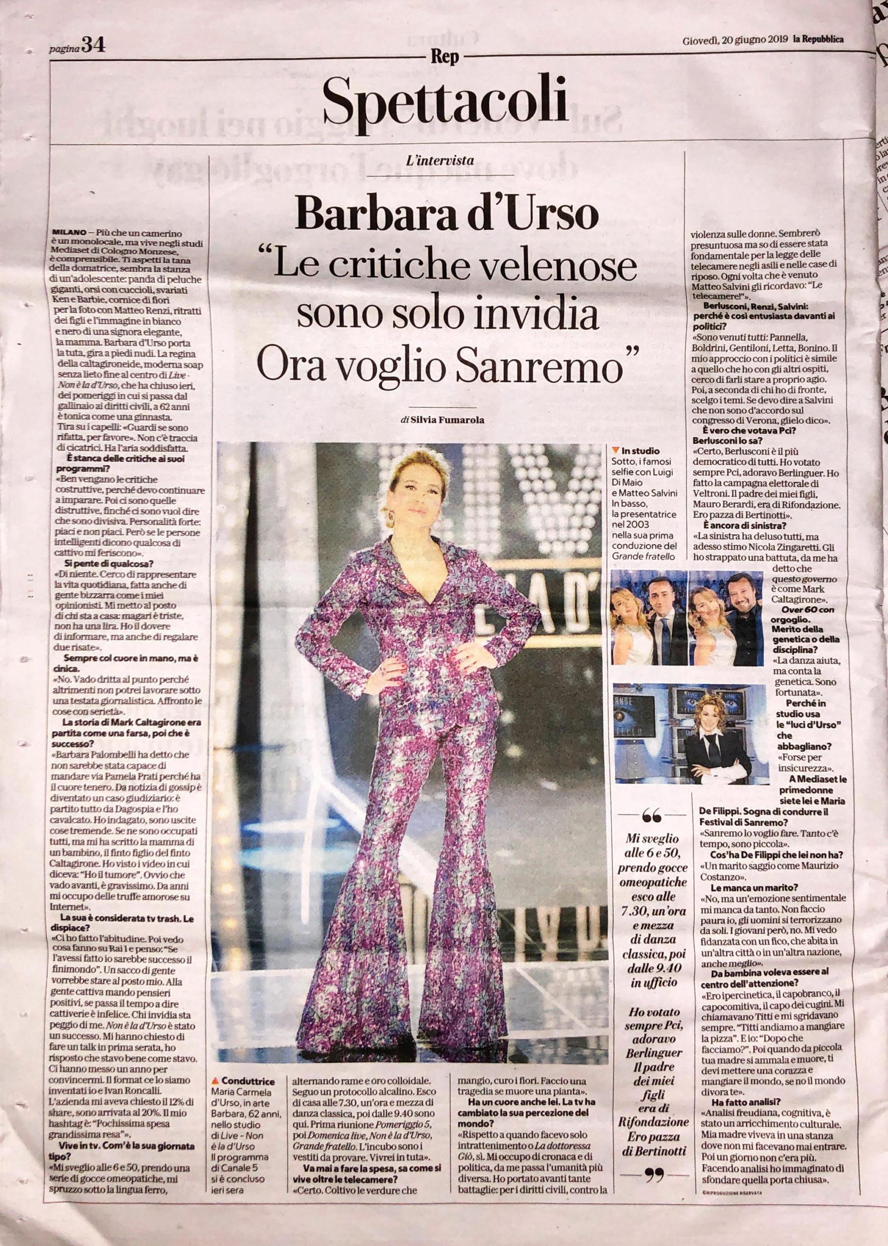 La Repubblica, Giugno 2019